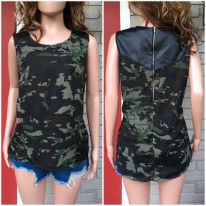 Tops - Camo faux leather detail sleeveless top